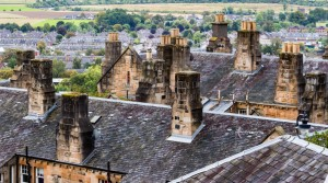 Chimney stacks and roofs in Stirling Old Town, Scotland