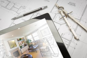 Computer Tablet Showing Room Illustration On House Plans, Pencil